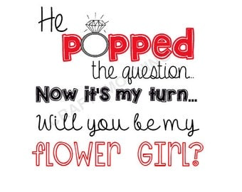 Red He Popped the Question Printables (Matron of Honor, Flower Girl, Ring Bearer, Personal Attendent)