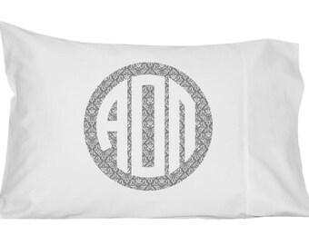 Alpha Omicron Pi Monogram Damask Pillowcase
