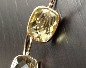 14k solid gold and cushion lime quartz earrings