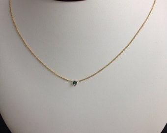 """14k solid yellow gold and blue sapphire solitaire necklace, single stone """"evil eye"""", 18"""", lobster clasp"""