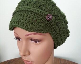 Crochet Hat News Boy Hat, Crochet Newsboy Hat, Crochet Women's hat