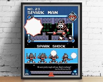Mega Man poster, Nintendo art, video game poster, classic game print, pixel art, Spark Man, kids room poster, game room art