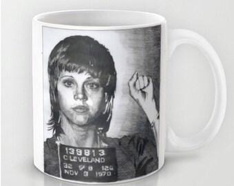 Jane Fonda Mugshot - Coffee Mug, Handmade Coffee Mug, Funny Coffee Mug, Funny Coffee Cup, Celebrity Art, Hand Drawn Mug