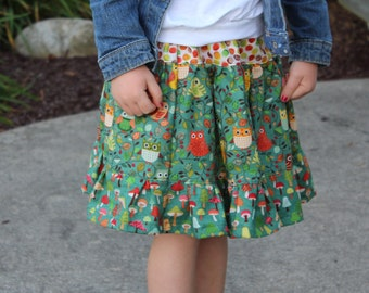 Little Girls Twirl Skirt, Ruffle Skirt, Owl Skirt, Green/Brown/Orange/Red, Size 4, Ready to Ship