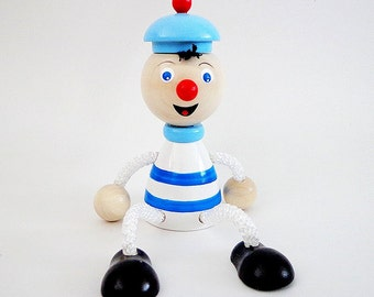 Sailor hanging toy, wooden spring painted seaman toy