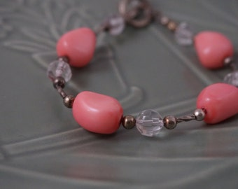 Pink Stone and Silver Bracelet