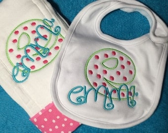 Applique Intial  Personalized Bib & Burp Cloth Set