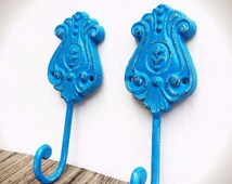 BOLD ornate scroll wall hooks // nautical oasis blue  // shabby cottage chic towel coat hooks