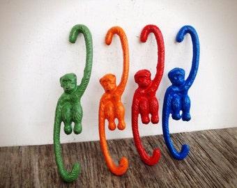 Set of 4 monkey hooks // bright orange, red, cobalt blue, and leafy green // shabby chic // plant hanger // barrel of monkeys