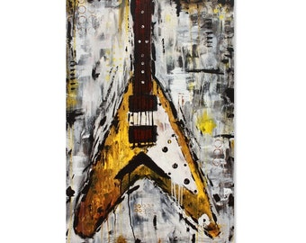 PRINT guitar painting, abstract electric Flying V guitar