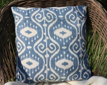 16x16 Ikat Print Pillow Cover, Cream and Wedgewood Blue Pillow Cover, Washed Denim Home Decor, Ikat Fabric, Ikat Pillow, Blue and White