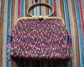 Vintage Handmade Bohemian Carpet Bag Purse Rattan Handles