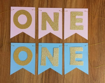 """1st First Birthday  Gold Glitter """"ONE"""" Bunting Banner"""