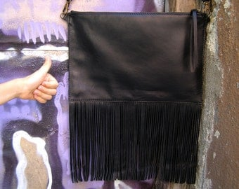 Fringed leather crossbody bag Leather clutch Fringed leather handbag