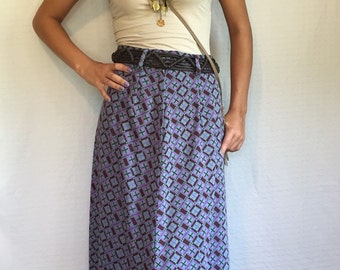 Vintage Maxi Skirt - 70's Gypsy Boho Long skirt - Psychedelic Retro 1970's Maxi Skirt - Purple Blue and Green skirt - Festival Skirt