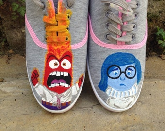 Inside Out painted shoes. Anger Sadness Disney Pixar animation characters. Slazenger sneakers plimsolls pumps