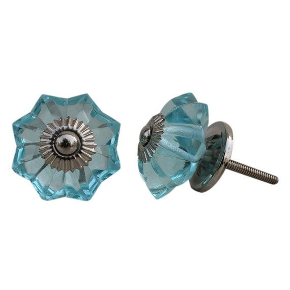 Set of 6 pieces turquoise melon glass door knobs by knobshop for Turquoise door knobs
