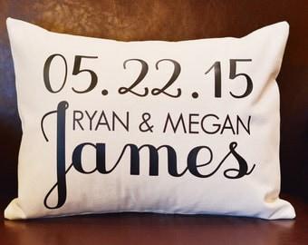Custom Wedding Date Pillow, Personalized Wedding Pillow, Anniversary Pillow, Personalized Gift