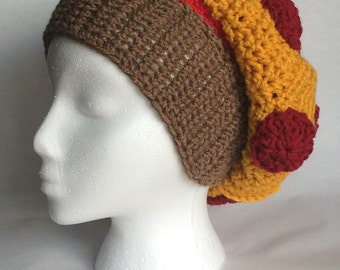 Crochet Slouchy Pizza Hat