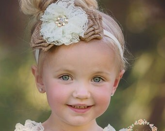 Baby Headband, Burlap Lace Headband, Country Wedding, Rustic Baby Headband, Flower Girl Headband, Shabby chic Headband, Burlap Rose Headband