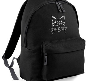 Cat Face Meow Backpack Back to School Street Bag Ruck Sack