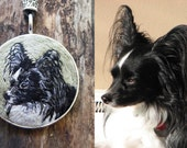 Papillon Necklace, custom made necklace, embroidered necklace, dog lover gift, hand embroidered jewelry, one if a kind embroidered dog