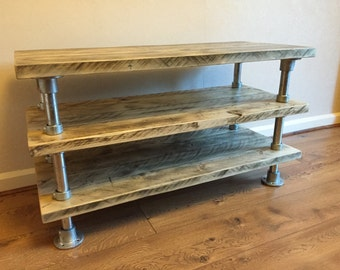 Media unit TV stand reclaimed Scaffold plank urban industrial