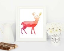 stag art print, stag silhouette, stag art, stag printable, nursery printable, stag artwork, stag watercolor, watercolor stag, watercolor art