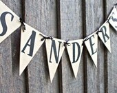 Family Name Banner, Wood Name Bunting, Name Pennant Banner, Family Name Sign, Rustic Personalized Wedding Gift, Photo Prop, FFFOFG