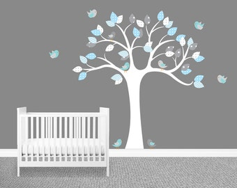Nursery Tree Wall Decal, Nursery Decor Decal, Tree wall art, Tree decal,  Baby Birds Decal