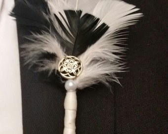 Chic Classic Wedding Boutonniere with beautiful feathers.  Elegant gatsby, multi-color,button, pearl, groom, usher, father of the bride