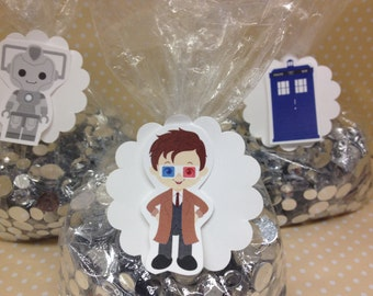 Dr Who Party Candy or Favor Bags With Tags  - Set of 10