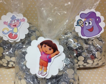 Dora The Explorer Party Candy or Favor Bags with Tags - Set of 10