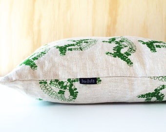 "Screen Printed ""Peti Fern Cushion"" Pillow / Cushion Cover 100% Oatmeal Linen"