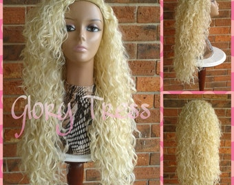 CLEARANCE // Long Beach Curly Half Wig, Kinky Curly Wig, Long Platinum Blonde Wig // COURAGE2