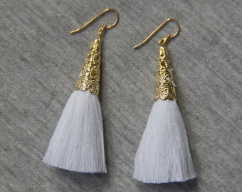 White Tassel Earrings with Gold Plating