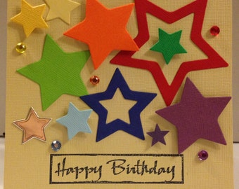 square Birthday Card with multi-coloured stars