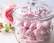 Cut Glass Bon Bon Dish   Wedding Dish   Candy Bowl   Lidded Glass Jar   Cookie Jar   Biscuit Jar