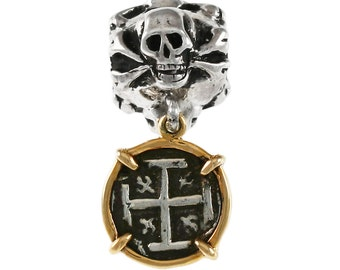 Authentic Atocha Treasure Coin Replica in 14kt Gold Setting Suspended from a Large Hole Sterling Silver Skull & Crossbones Jolly Roger Bead