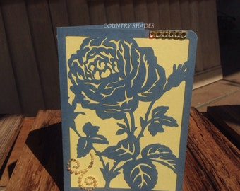 Rose Happy Birthday Card, Handcrafted Greeting Card, Blue Yellow, Gold Gems, Die Cut Rose ,Envelopes, Embossed Tags, Party Supplies
