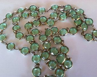 "Vintage 34"" Eternity Style Bezel Peridot Green Crystal Necklace"