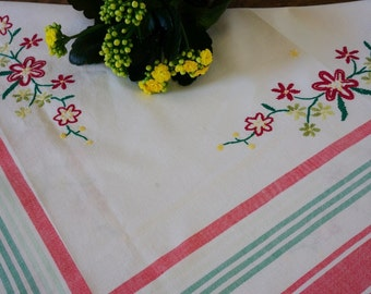 Swedish Vintage Cotton Tablecloth with Hand Embroidery Flower Strip Edges