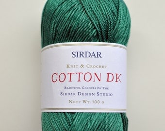 Lot of 3, Sirdar DK Cotton Yarn, Cottonfield Green,  I will mix and match colors if requested.