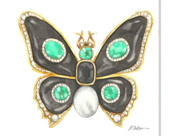 Butterfly Brooch Watercolor Rendering in Yellow Gold with Black Onyx, Emeralds, Diamonds, and Pearl printed on Canvas