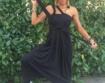 Black Drop Crotch Jumpsuit, Urban Casual Womens Jumpsuit, Cotton Jumpsuit, Extravagant Loose Jumpsuit, Womens Romper by SSDfashion