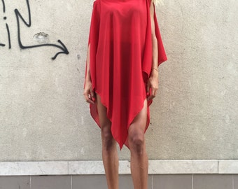 Women's Red Chiffon Maxi Tunic, Elegant Oversize Tunic, Extravagant Asymmetric Tunic, Casual Top by SSDfashion