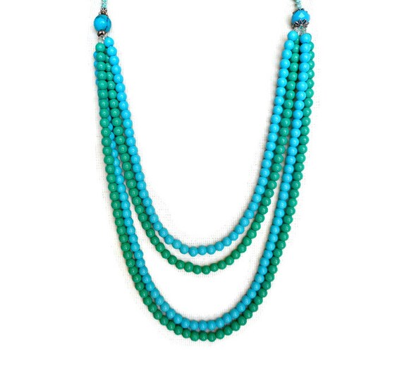 teal necklace multi strand beaded necklace by