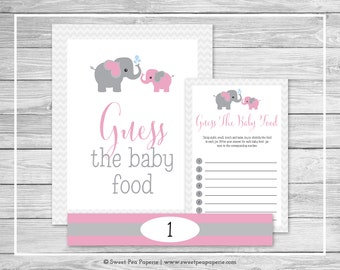 Elephant Baby Shower Guess The Baby Food Game - Printable Baby Shower Guess The Baby Food Game - Pink and Gray Elephant Baby Shower - SP101