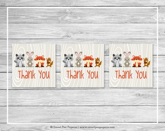 Woodland Animals Baby Shower Favor Thank You Tags - Printable Baby Shower Thank You Tags - Woodland Animals Baby Shower - Favor Tags - SP105