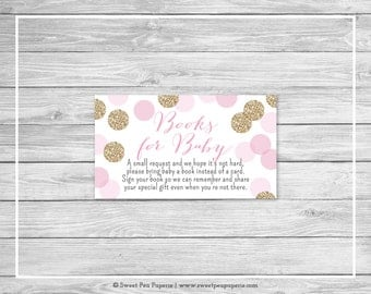 Pink and Gold Baby Shower Book Instead of Card Insert - Printable Baby Shower Books for Baby - Pink and Gold Glitter Baby Shower - SP106